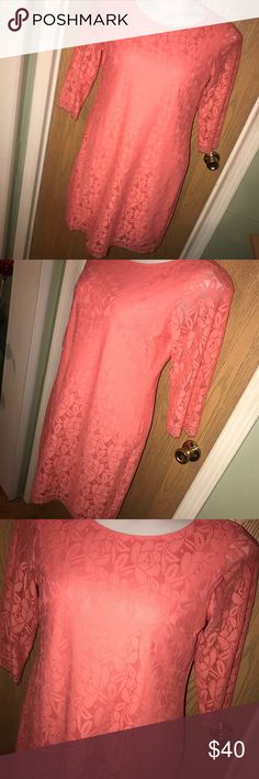 """Coral lace London Times shift dress Gorgeous coral lace 3/4 length sleeve shift dress. Excellent used condition. 22"""" from armpit to armpit, 38"""" total length. London Times Dresses"""
