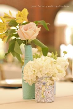 map vases, yarn wrapped bottle vases at vintage travel themed wedding