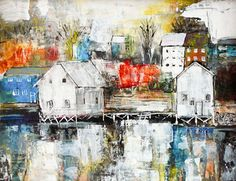 Inspired by Lunenburg - Acrylic, collage, and Inks by Linda Virio, love this. Collage Artists, French Artists, Medium Art, House Painting, Painting Inspiration, Home Art, Artsy, Art Therapy, Drawings