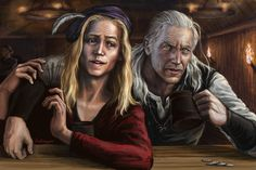 Geralt and Dandelion in tavern by Bathorygen.deviantart.com on @deviantART