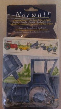 Norwall Prepasted Wallpaper Border Vehicles Children's 5 yds Tractor Dump Truck #Norwall