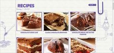 The design for the recipe page is different from the other layouts but the style is the same. The background contain drawing which look like the processing of making cadbury chocolate. The font usage is different style too. Although the images is in square, the frame of each images make the images look interesting. When user hover the images, prepare time and cook time for the recipe is shown. Cadbury Chocolate, Chocolate Fudge Cake, Raspberry Crumble, Bread And Butter Pudding, Fondant, Sweets, Cooking, Layouts, Desserts