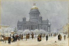 Исаакиевский собор в снежный день Franz Alt (Austrian, 1821-1914)