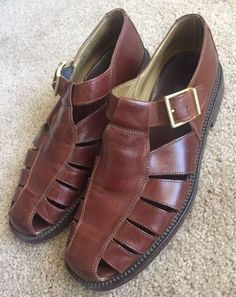 Sperry Top Sider men's size 11.5 M blk & brown leather loafers dress casual