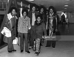 Michael Jackson and his brothers, Jackie, Tito, Marlon and Jermaine - the Jackson Five, at Heathrow Airport.