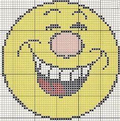 "Borduurpatroon ""Overig"" Kruissteek *Embroidery Cross Stitch Pattern ~Smiley - Emoticon 8~"