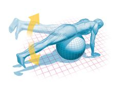 hip extension exercise on swiss ball