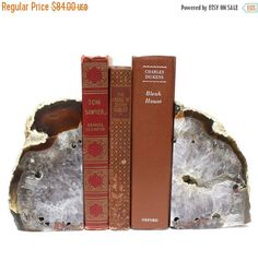 15% off Mothers Day SALE Agate Druzy Geode Bookend -  Natural Half Geode Bookend Rock Formation - RK54A-26