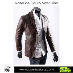 Blazer de Couro Masculino. Apenas R$225,00  COMPRE AGORA www.camisariarg.com/blazer-de-couro-masculino-cafe.html