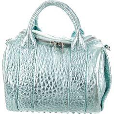 Pre-owned Alexander Wang Rockie Duffel Bag ($400) ❤ liked on Polyvore featuring bags, handbags, blue, handbag purse, duffle bag, leather purses, green duffle bag and genuine leather handbags