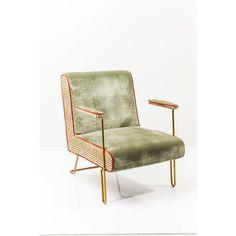 Deze toffe lage stoel, oftewel Cocktail stoel, zul je niet zo snel ergens anders komen. Deze fauteuil met messing frame heeft een retro bekleding.