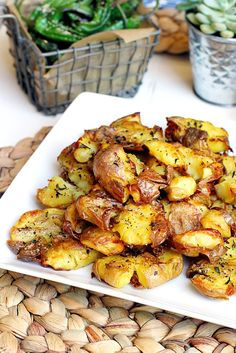 Crispy Smashed Potatoes  Makes 3 servings   INGREDIENTS      1 1/2 pounds baby Dutch yellow po...