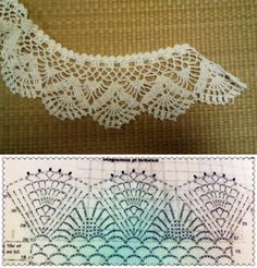 Find and save knitting and crochet schemas, simple recipes, and other ideas collected with love. Crochet Collar Pattern, Col Crochet, Crochet Lace Collar, Crochet Lace Edging, Crochet Motifs, Crochet Borders, Crochet Diagram, Thread Crochet, Crochet Patterns