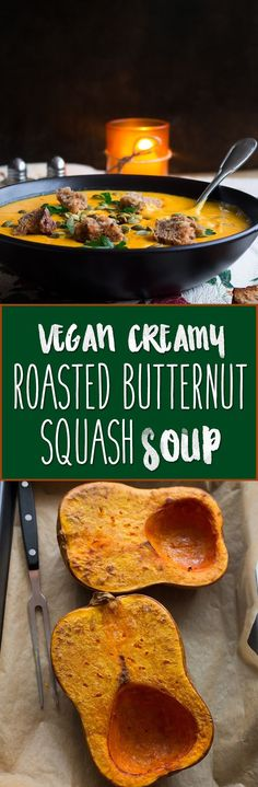 Vegan Creamy Roasted Butternut Squash Soup - delicious and easy fall recipe and the ultime comfort food! It's freezer friendly so you can double the recipe to enjoy it later.