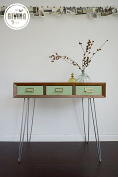 Walnut Console Table with Vintage Metal Drawers and Steel Hairpin Legs by GivingTreeDesignCo. Small House Furniture, Iron Furniture, Sofa Workshop, Katie Homes, Sofa Styling, Table Legs, Repurposed Furniture, Sofa Design, Console Table