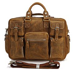Vintage Handmade Crazy Horse Leather Business Travel Bag / Duffle