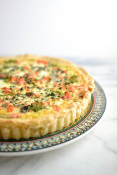 Salmon and Leek Quiche with Capers - I made this with one can of canned salmon, goat cheese instead of whipped cream cheese and store bought pie crust instead of puff pastry and it was delicious!