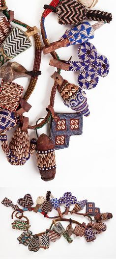 Africa | Belt / Royal girdle with symbolic insignia ~ yet ~ from the Bushong people DR Congo | 20th century | Glass beads cowrie shells, leather, fiber