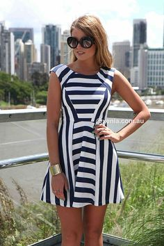 THE NAVY & WHITE STRIPES DRESS , DRESSES, TOPS, BOTTOMS, JACKETS & JUMPERS, ACCESSORIES, 50% OFF SALE, PRE ORDER, NEW ARRIVALS, PLAYSUIT, COLOUR, GIFT VOUCHER,,Blue,White,Print,SLEEVELESS Australia, Queensland, Brisbane