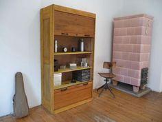 Aktenschrank holz gebraucht  Fortschritt Aktenschrank Bauhaus Antik Rolladenschrank Büro in ...
