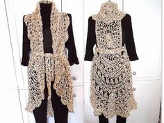 Crochet PATTERN 762 Long LACY SUMMER Vest 30-52 by Hectanooga