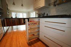 Roll Out Spice Shelves Custom Bathroom Cabinets, Custom Cabinetry, Kitchen Cabinet Pulls, Kitchen Cabinetry, Roll Out Shelves, Home Furniture, Furniture Design, Spice Shelf, Pull Out Drawers