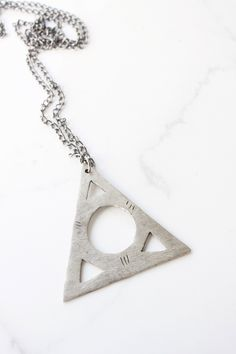 Triangle necklace - geometric style jewelry in gold or silver - made to order
