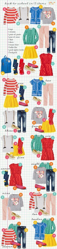 Combining 13 items of clothing...great resource when back to school shopping!