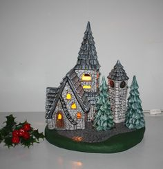 Christmas Lighted Church Clock Tower Trees Electric 4 Moveable Pieces Base Light