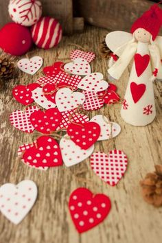 Set of Twenty Four Red & White Wooden Heart Decorations