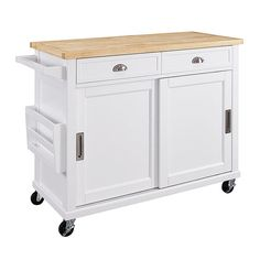 The Linon Sherman Portable Kitchen Island offers you a roomy and portable workspace with lots of added storage. This chic wood kitchen island features. Portable Kitchen Island, Wood Kitchen Island, Kitchen Islands, White Kitchen Cart, Kitchen Carts, Buy Kitchen, Kitchen Storage, Kitchen Buffet, Kitchen Cabinets