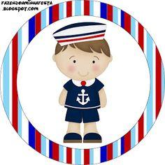 Menino Marinheiro Azul e Vermelho - Kit Completo com molduras para convites, rótulos para guloseimas, lembrancinhas e imagens! - Fazendo a Nossa Festa