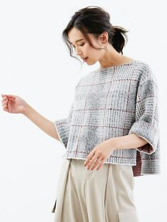 I don't even  Know if this is something you could hand-knit because it looks machine-made but the stitch/pattern would make a sick blanket! チェックジャガードニットプルオーバー
