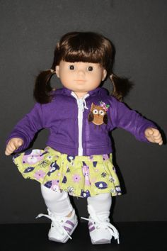 """AMERICAN GIRL Bitty Baby 15"""" Doll Owl Hoodie with Skirt and Leggings and Shoes"""