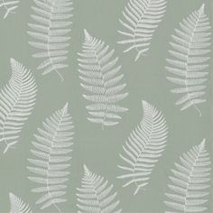 Fern Embroidery Fabric A stunning fabric with fern leaves finely embroidered in white on a crisp sage green cotton ground.