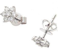 18K White Gold Flower Earrings G VS Round Diamonds Push Backs 0.48 Ct Free Ship #Stud