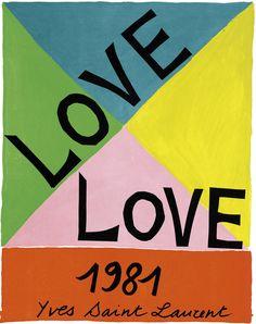 Yves Saint Laurent (1936-2008) Love Cartes de Vœux 1981