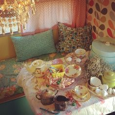 Events by Milk & Honey Farm   *Vintage Trailers for Rent...pretty decor and chandelier