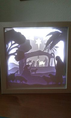 Great Picture in the box Diy Nativity, Christmas Nativity, Christmas Crafts, 3d Paper Art, Diy Paper, Paper Crafts, Shadow Box, Licht Box, Rena