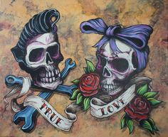 sexyPin ups, dark Art,Rockabilly : Photo Skull Couple Tattoo, Skull Tattoos, Couple Tattoos, Body Art Tattoos, Partner Tattoos, Rose Tattoos, Tatoos, Couple Rockabilly, Rockabilly Rules