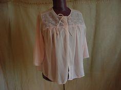 Vintage Van Raalte Bed Jacket Pink size Large w 3/4 Sleeves for reading Sheer #vanraalte  Seller florasgarden on ebay