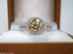1.95CT 14K White Gold Champagne & White Diamonds Engagement Ring Hand Made. $4,200.00, via Etsy.