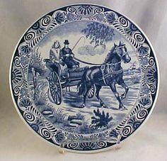 Large Delfts Blauw Charger Plate Couple in Horse Drawn Carriage Holland | eBay