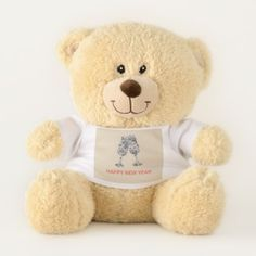 Happy New Year Teddy Bear - New Year's Eve happy new year designs party celebration Saint Sylvester's Day