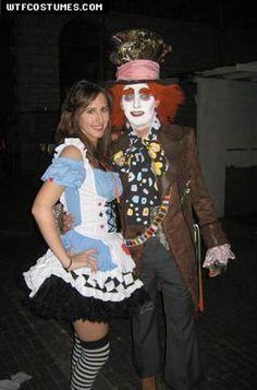 alice in wonderland with mad hatter halloween costume tim burton