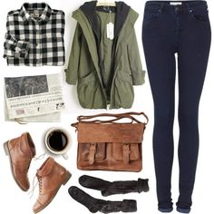 Untitled by hanaglatison on Polyvore featuring Woolrich, Topshop, Polder, Madewell and Rowallan