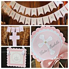 First Communion/ Baptism party decor. 4 piece religious party box. Girl / Pink / Ivory. Fully assembled and customizable. by CharmingTouchParties on Etsy