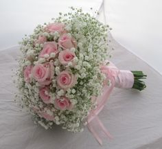 Gypsophila handtied bouquet with pink rose inserts