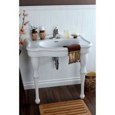 Vintage 32-inch for 4-inch Center Wall Mount Pedestal Bathroom Sink Vanity - Free Shipping Today - Overstock.com - 15394624
