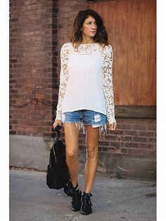 White Crochet Lace Panel Blouse | Choies